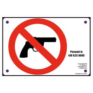 Pursuant To 430 ILCS 66/65 - Illinois Concealed Weapons sign
