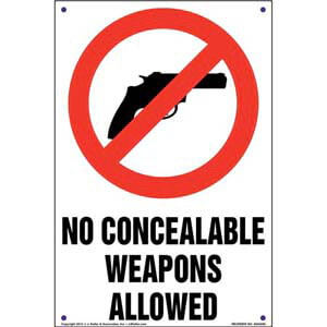 No Concealed Weapons Allowed Sign