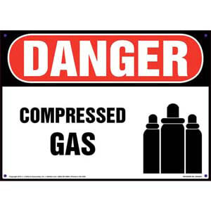Danger: Compressed Gas Sign with Icon - OSHA