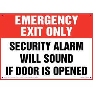 Emergency Exit Only: Alarm Will Sound Sign