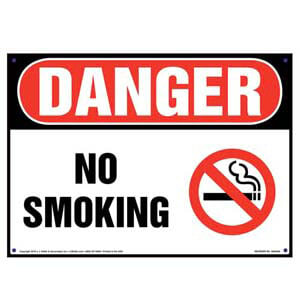 Danger: No Smoking Sign with Icon - OSHA