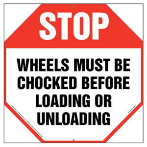 Stop: Wheels Must Be Chocked Before Loading/Unloading Sign