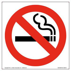 No Smoking Sign and Label - Wordless