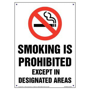 California: Smoking Is Prohibited Except In Designated Areas Sign