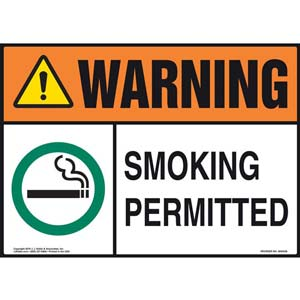 Warning: Smoking Permitted Sign - ANSI