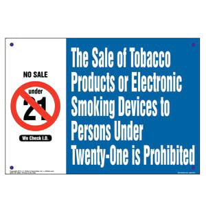 Hawaii: Sale of Tobacco Products/Electronic Smoking Devices to Persons Under 18 Is Prohibited Sign