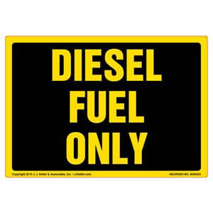 Diesel Fuel Only Vehicle Label