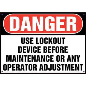 Danger: Use Lockout Device Before Maintenance - Lockout/Tagout OSHA Sign