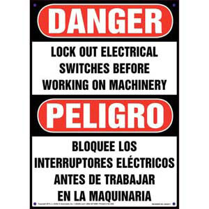Danger/Peligro: Lockout Electrical Switches Before Working - OSHA Lockout/Tagout Sign