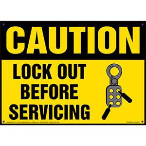 Caution: Lockout Before Servicing - OSHA Lockout/Tagout Sign