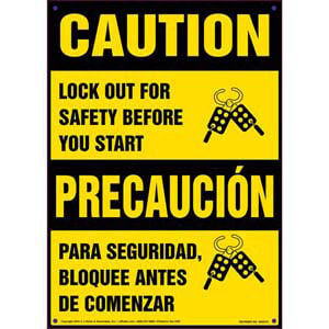Caution: Lockout for Safety Before You Start - Bilingual Lockout/Tagout Sign