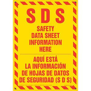 SDS Safety Data Sheet Information Here Sign - Bilingual