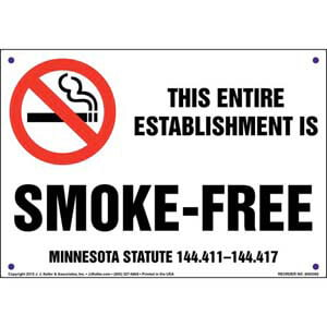 Minnesota Statute: This Entire Establishment Is Smoke-Free Sign
