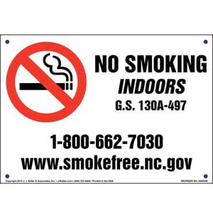 North Carolina: No Smoking Indoors Sign