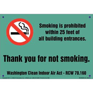 Washington Clean Indoor Air Act: Smoking Prohibited Sign