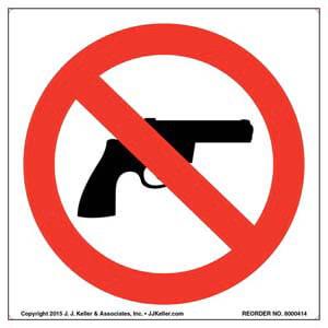No Handguns Symbol Label