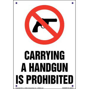 Arkansas: Carrying a Handgun is Prohibited Sign
