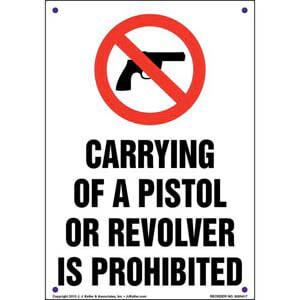 Mississippi: Carrying of a Pistol or Revolver is Prohibited Sign
