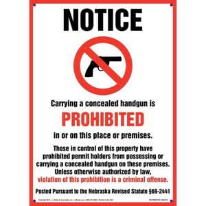 Nebraska Revised Statute:  Concealed Handgun Carry is Prohibited Sign