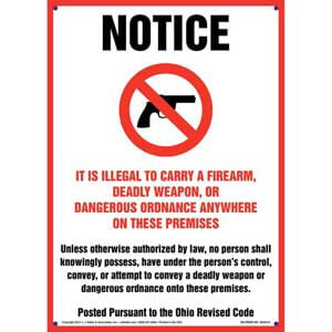 Ohio Revised Code: It is Illegal to Carry Concealed Weapons on These Premises Sign