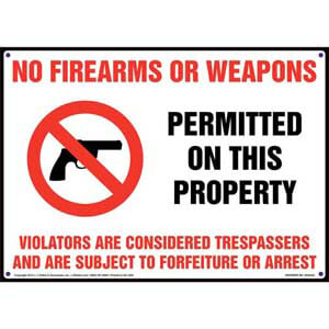 Wisconsin: No Firearms or Weapons on Property Sign
