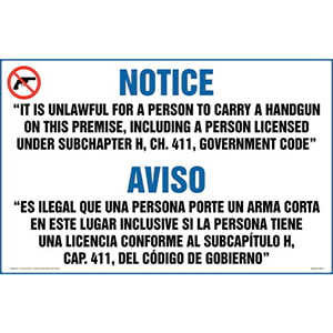 Texas: Licensed or Unlicensed Possession of Weapon on Premises is a Felony Sign (Bilingual)
