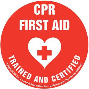 CPR First Aid Certified And Trained - Hard Hat/Helmet Decal