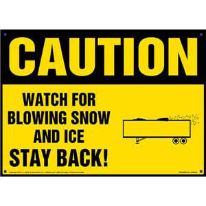 Caution: Watch For Blowing Snow And Ice, Stay Back Sign - OSHA