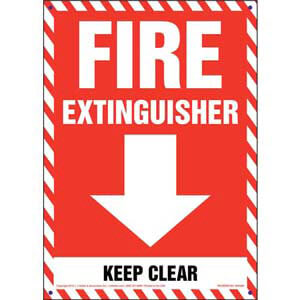 Fire Extinguisher, Keep Clear Sign