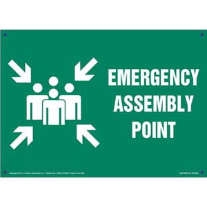 Emergency Assembly Point Sign with Icon