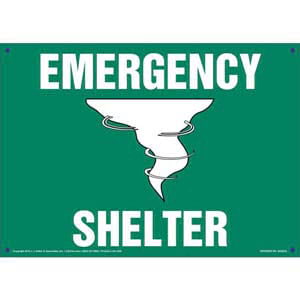 Emergency Shelter Sign with Icon