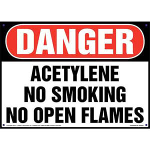 Danger: Acetylene No Smoking No Open Flames Sign - OSHA