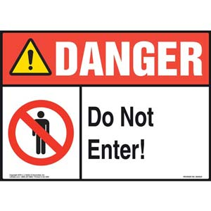 Danger: Do Not Enter Sign with Icons - ANSI