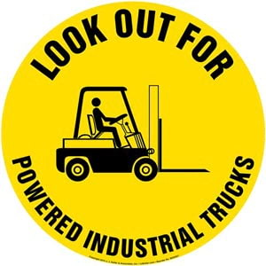 Look Out For Powered Industrial Trucks Floor Sign