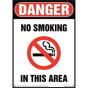 Danger: No Smoking In This Area Sign - OSHA, Portrait