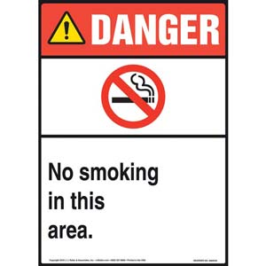 Danger: No Smoking In This Area Sign - ANSI, Portrait