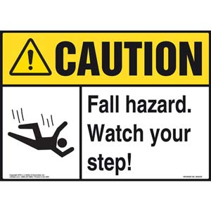 Caution: Fall Hazard Watch Your Step - ANSI Sign
