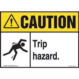 Caution: Tripping Hazard - ANSI Sign