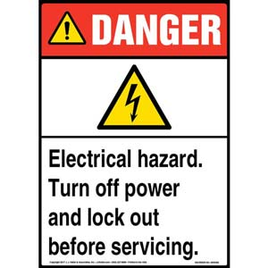 Danger: Electrical Hazard Turn Off Power And Lock Out Before Servicing - ANSI Sign
