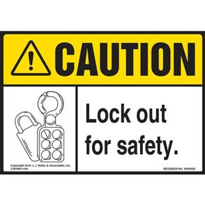 Caution: Lock Out For Safety - ANSI Label