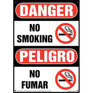 Danger: No Smoking - OSHA Bilingual Sign