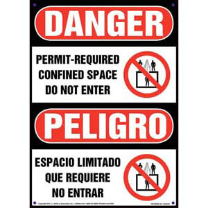 Danger: Permit-Required Confined Space, Do Not Enter - OSHA Bilingual Sign