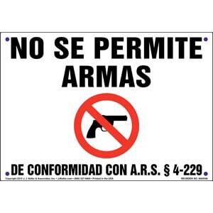 Arizona: No Firearms Allowed - Spanish Sign