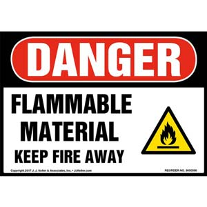 Danger: Flammable Material Keep Fire Away Label - OSHA