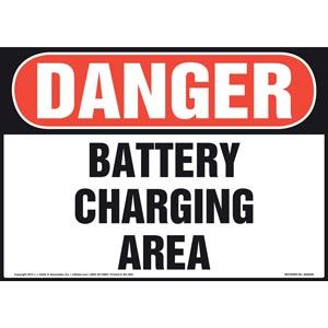 Danger: Battery Charging Area Sign - OSHA