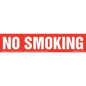 No Smoking Label - White Text on Red, Long Format
