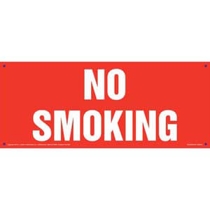 No Smoking Sign - White Text on Red, Long Format