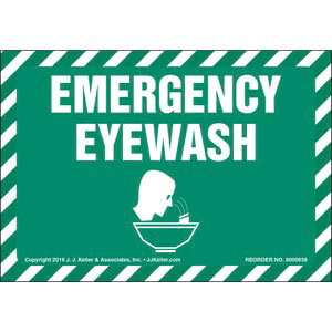 Emergency Eyewash Label With Graphic