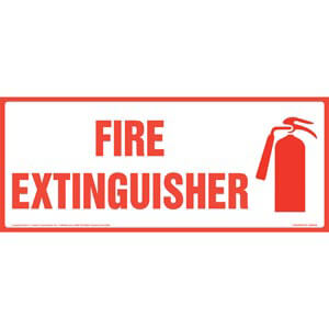 Fire Extinguisher Sign with Icon - Long Format