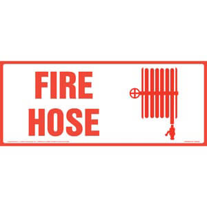 Fire Hose Sign with Icon - Long Format